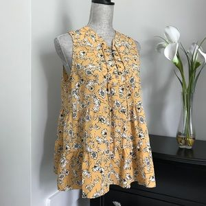Entro Floral Sleeveless Babydoll Lace-up Blouse